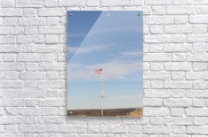 Moon and American Flag over Fort Craig VP1  Acrylic Print