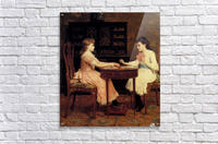 Two girls playing cards  Acrylic Print