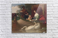 A young family feeding a swan  Acrylic Print