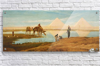 People and camels by the pyramids  Acrylic Print