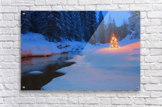 Glowing Christmas Tree By Mountain Stream  Acrylic Print