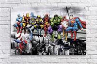 Marvel and DC Superheroes Lunch Atop A Skyscraper Featuring Captain America, Iron Man, Batman, Wolverine, Deadpool, Hulk, Flash & Superman  Acrylic Print