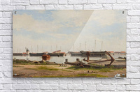 View of the wharf at Nyholm with the crane and some warships  Acrylic Print