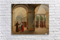 Procession of monks in the cloister of the Basilica San Paolo Fuori le Mura in Rome  Acrylic Print
