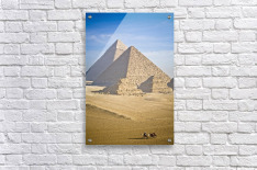 The Pyramids With Two Men On Camels Going By; Cairo,Egypt,Africa  Acrylic Print
