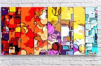psychedelic geometric graffiti drawing and painting in orange pink red yellow blue brown purple and yellow  Acrylic Print