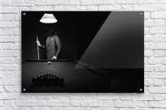 ; Mystery Pool Player Behind Rack Of Billiard Balls  Impression acrylique