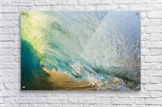 Hawaii, Maui, Makena Beach, View Of Distant Surfers Through Barrel Of Turquoise Wave, Sunset Light.  Acrylic Print