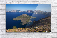 West rim view of Crater Lake overlooking Wizard Island  Acrylic Print
