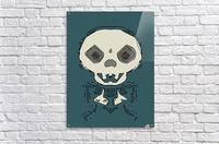 skull and bone graffiti drawing with green background  Acrylic Print