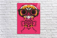 funny skull and bone graffiti drawing in orange brown and pink  Acrylic Print