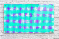 plaid pattern graffiti painting abstract in blue green and pink  Acrylic Print