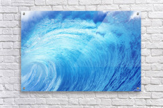 Hawaii, Oahu, North Shore, Curling Wave At World Famous Pipeline.  Acrylic Print