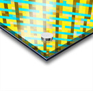 geometric pixel square pattern abstract background in yellow blue brown Acrylic print