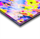 psychedelic geometric square pixel pattern abstract in pink yellow blue Acrylic print