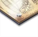 Vector steampunk poster illustration fantastic wooden flying ship Acrylic print