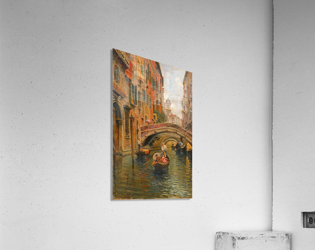 A walk with the gondola along a small canal in Venice  Acrylic Print