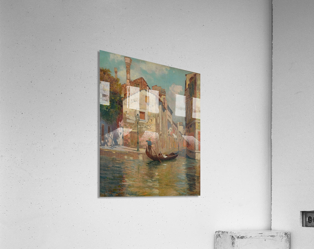 Gondola traveling along a canal in Venice  Acrylic Print