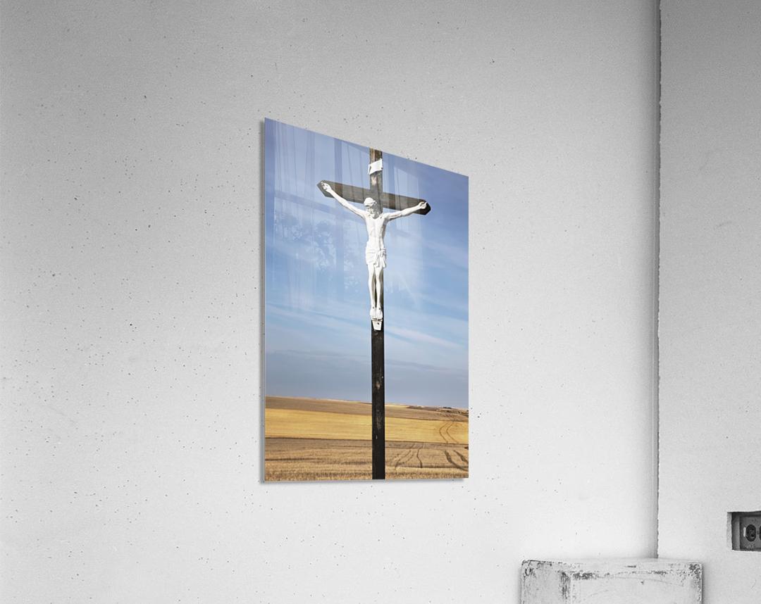 Crucifix and a farm field in the background;Saskatchewan canada  Acrylic Print
