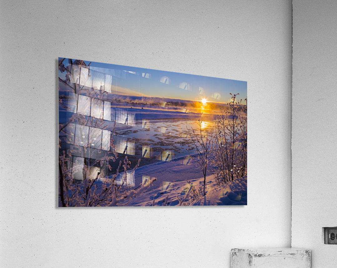 Ice flows in the Tanana River at sunset during freeze up in early winter; Alaska, United States of America  Acrylic Print