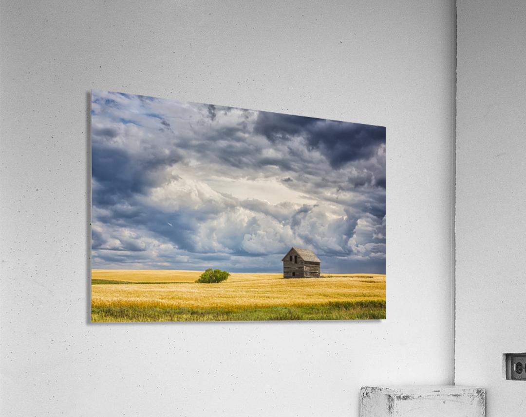 Abandoned building along the roads of rural Saskatchewan; Saskatchewan, Canada  Acrylic Print