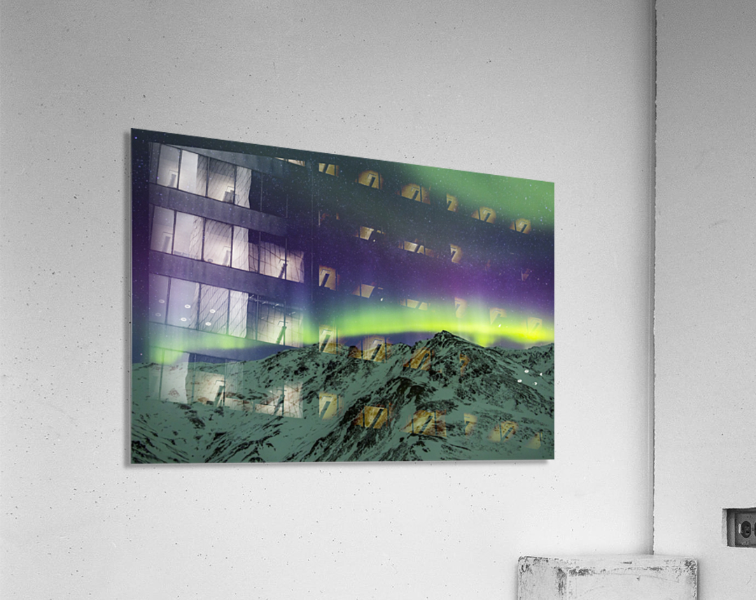 Aurora borealis over mountains within Denali National Park on a very cold winter night.  The Andromeda Galaxy is visible to the left; Alaska, United States of America  Acrylic Print