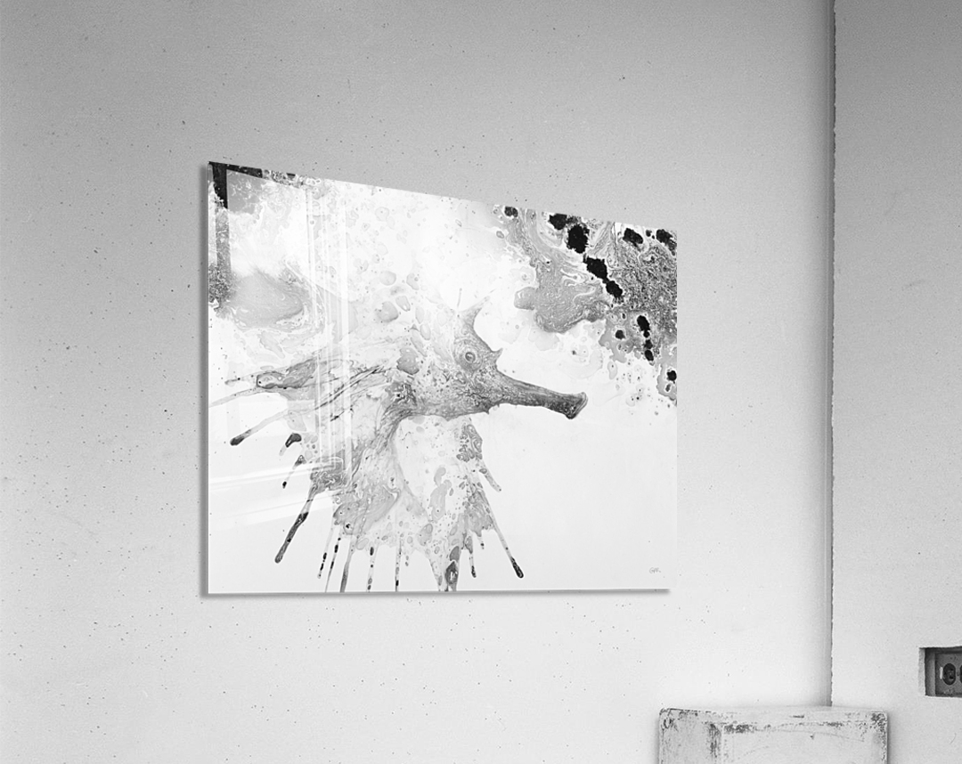 Illustration of fish with long nose surrounded by splashes and mottled abstract  Acrylic Print