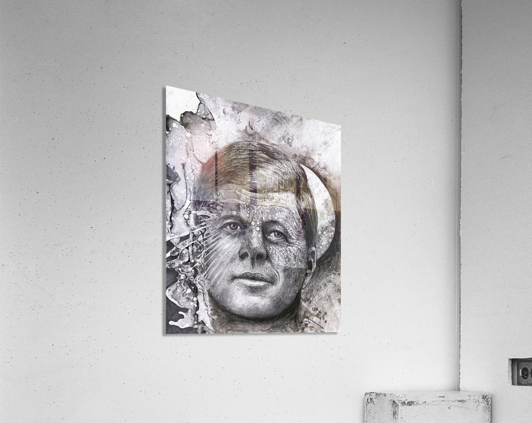 Black and white illustration of a man's face with a full moon overlapping his face  Acrylic Print