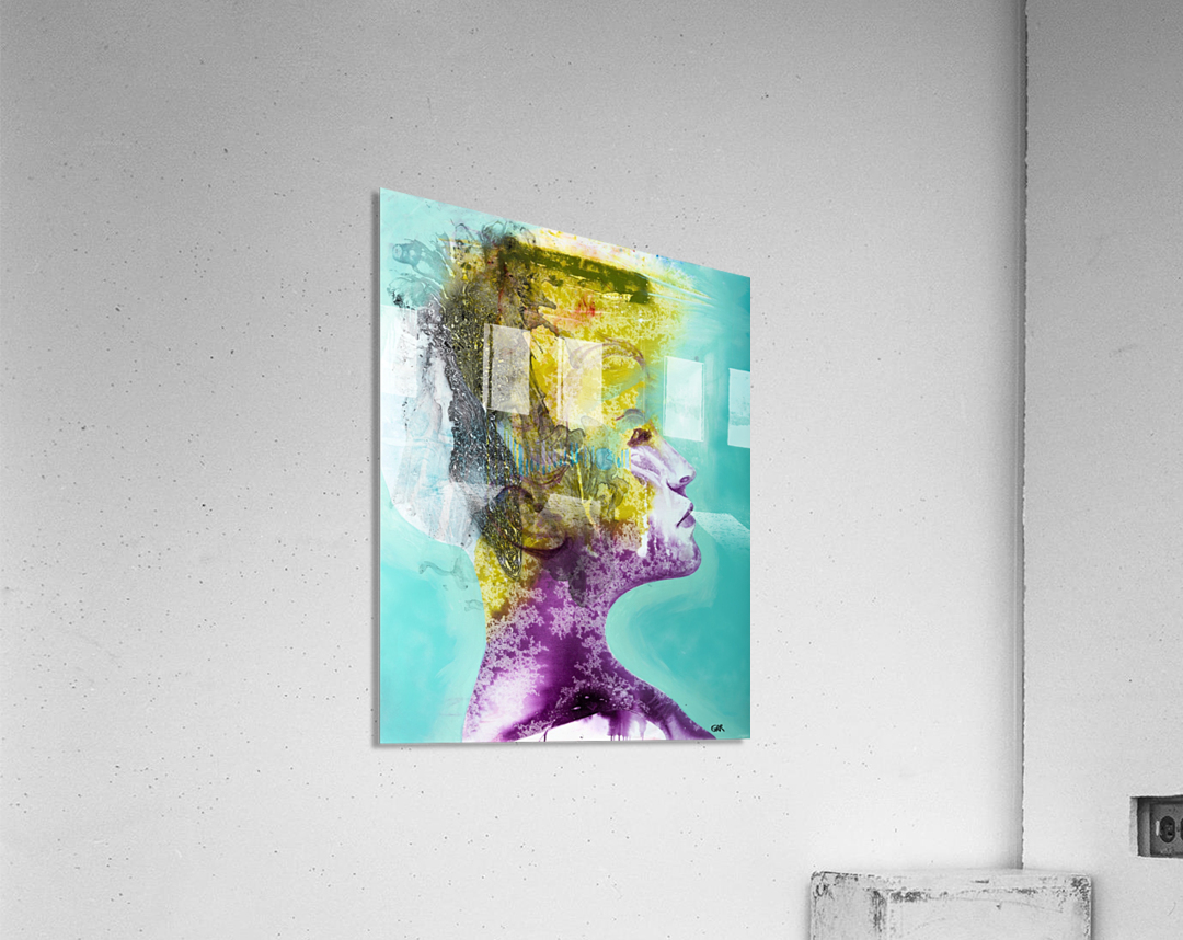Illustration of a woman's head with colourful abstract patterns emerging from the back of the head  Acrylic Print