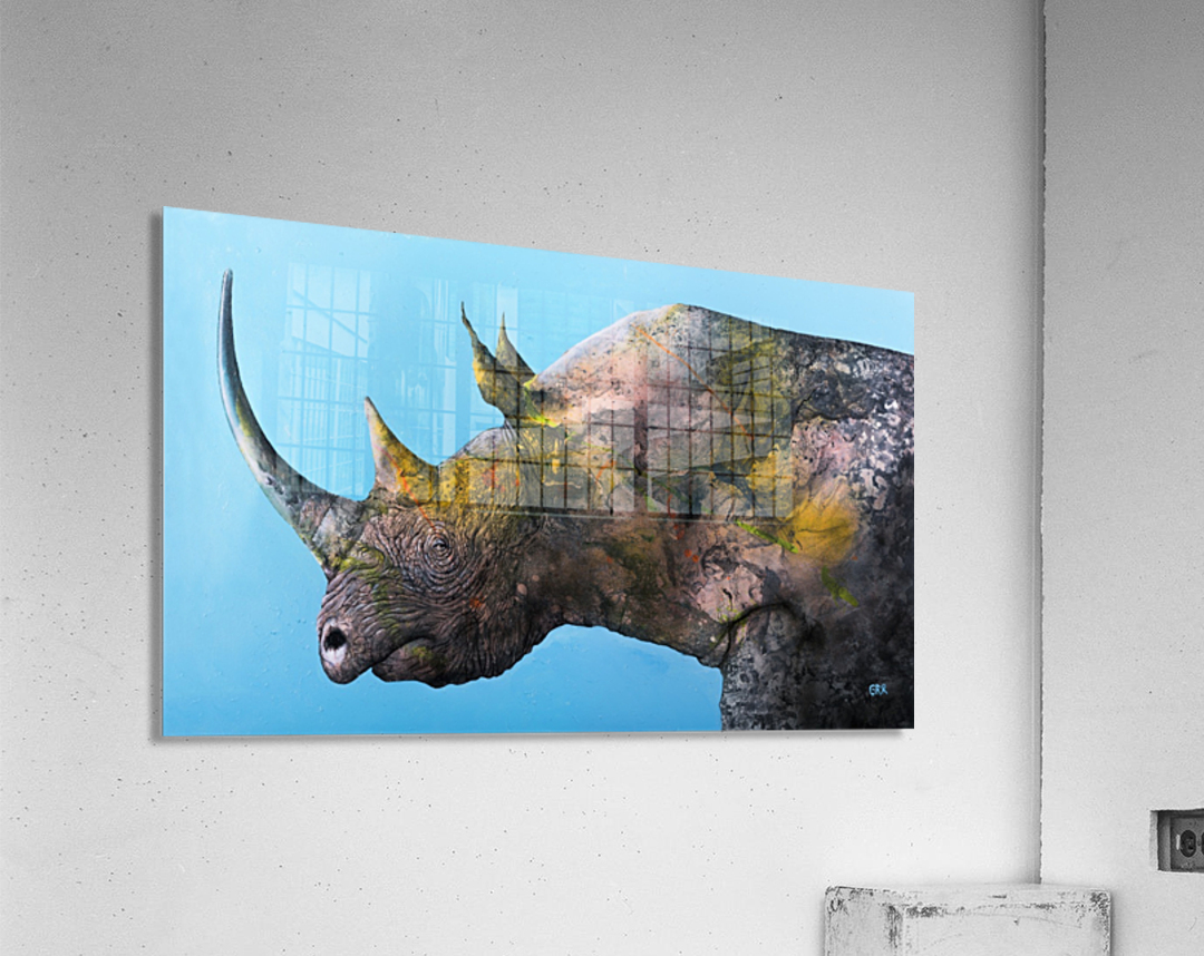 Illustration of a white rhinoceros against a blue background  Acrylic Print