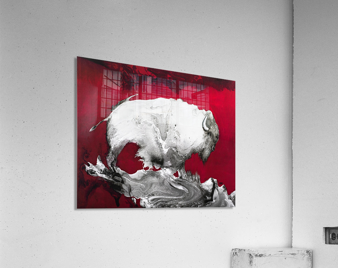 Illustration of a bison against a red background  Acrylic Print