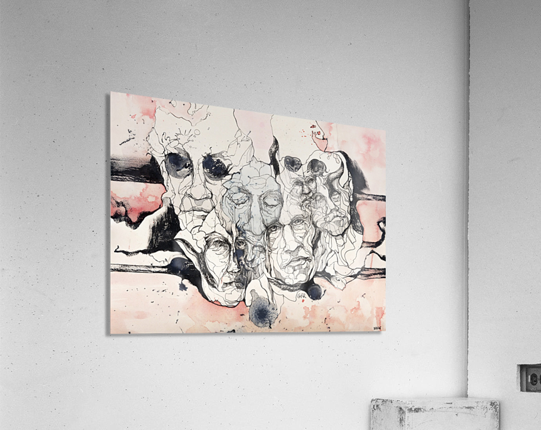 Illustration of male faces overlapping  Acrylic Print