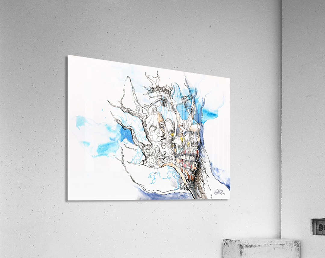 Illustration of a human face with a composite of other faces on the surface  Acrylic Print