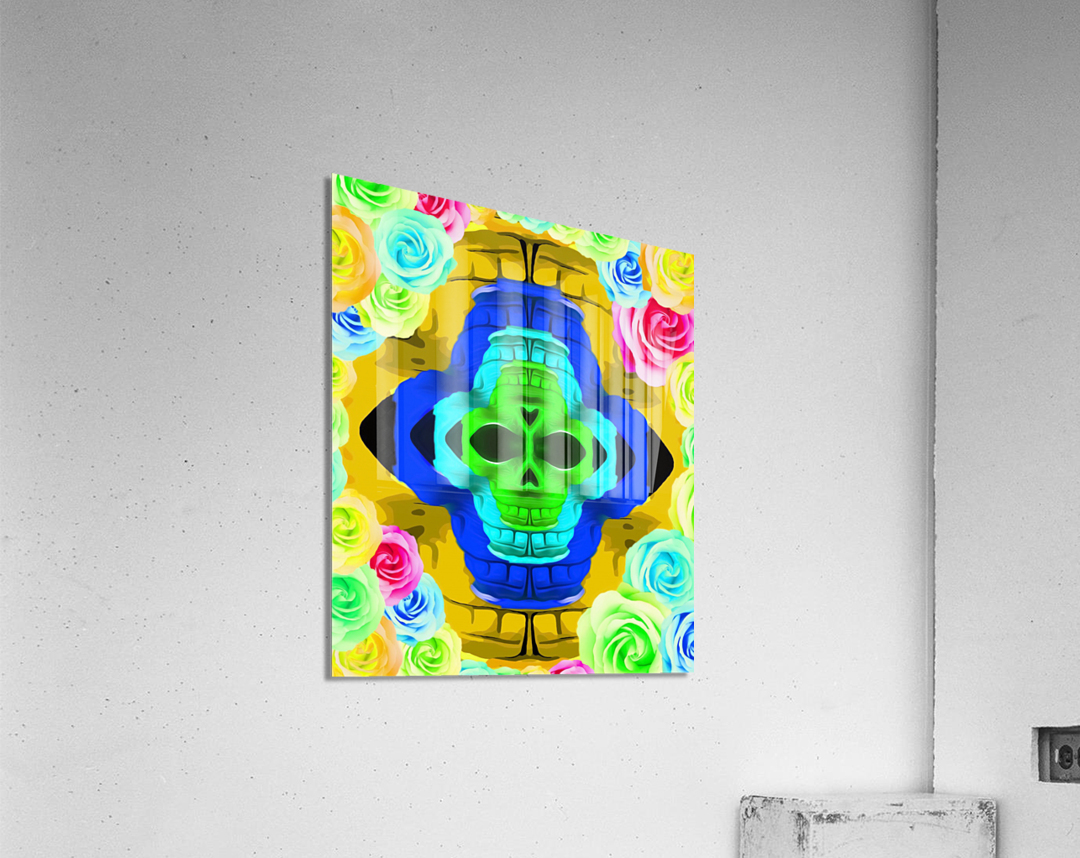 funny skull portrait with colorful roses in pink blue yellow green  Acrylic Print