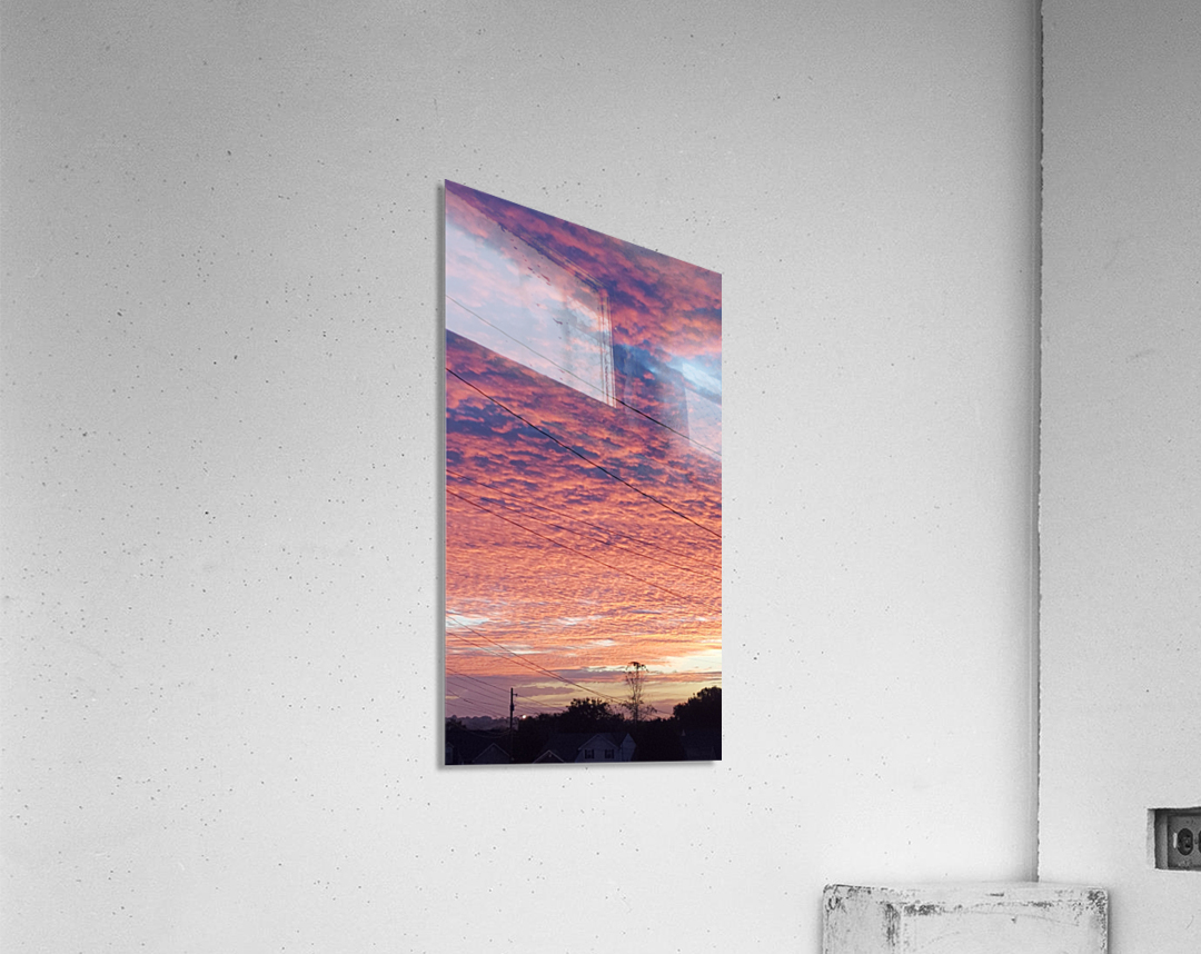 Red Sky Over Wires  Acrylic Print