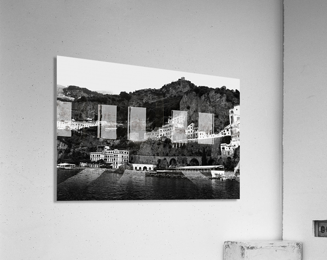 Amalfi Coast Black and White Landscape  Acrylic Print