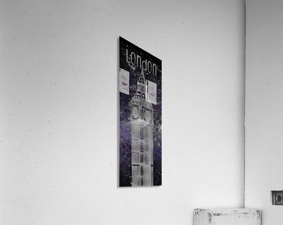 Graphic Art LONDON Big Ben| ultraviolet & silver  Acrylic Print