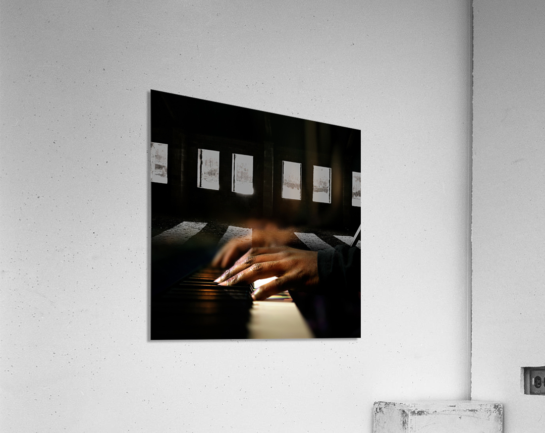 Hands playing piano close-up  Acrylic Print