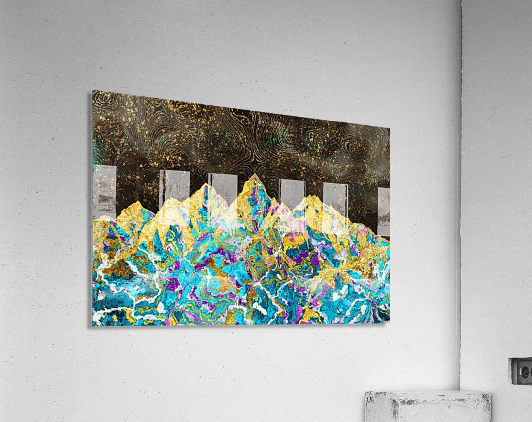 Gold Turquoise Mountain - Illustration I  Acrylic Print