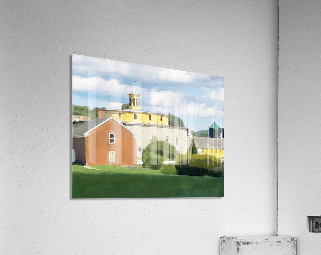 Hancock Shaker Village Round Stone Barn and Brick Poultry House  Acrylic Print