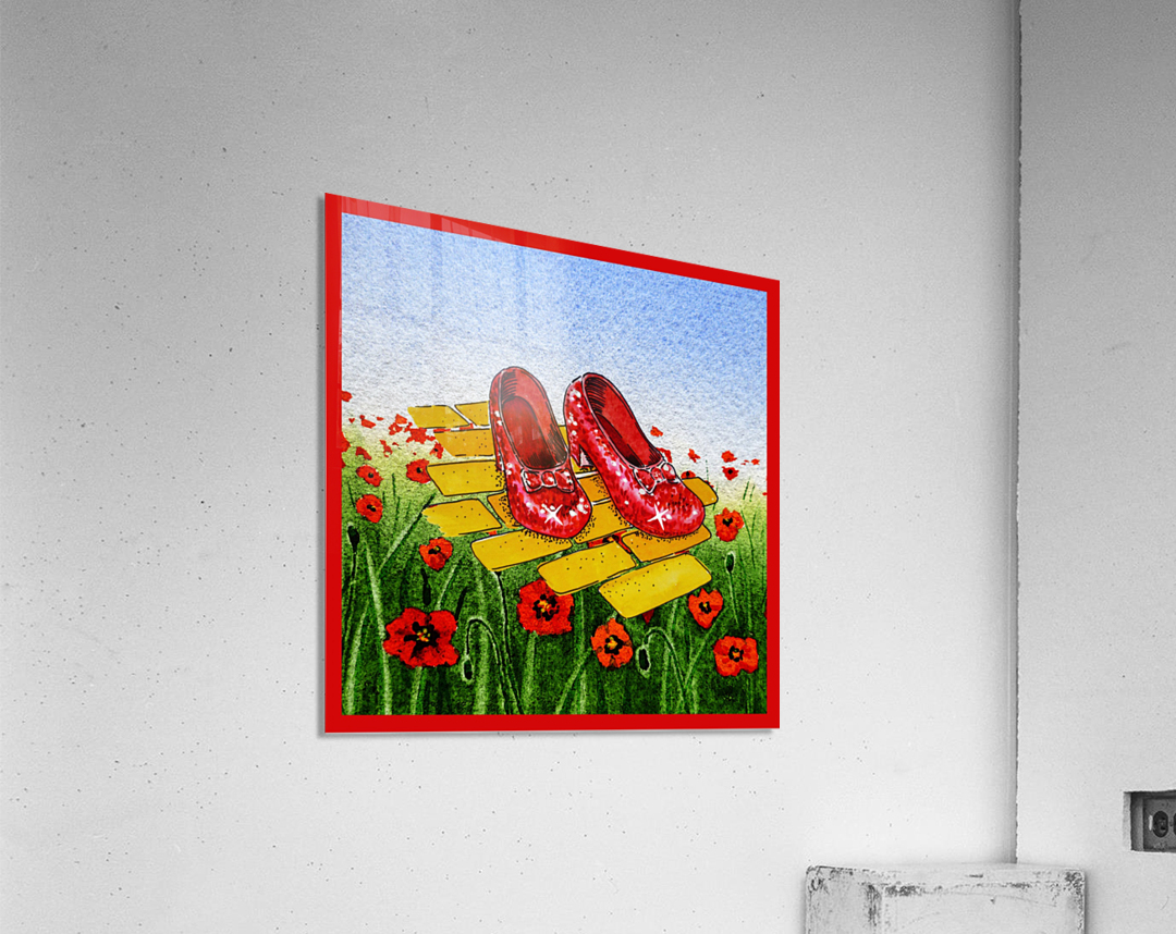 Ruby Slippers Yellow Brick Road Red Poppies Field  Acrylic Print