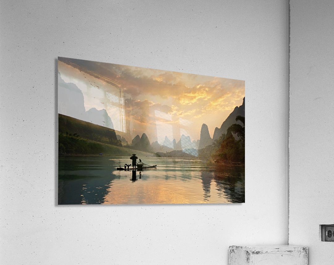 Golden Li River  Acrylic Print