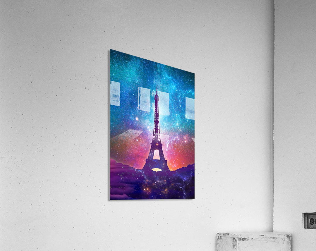 Eiffel Tower - Milky Way Collage  Acrylic Print