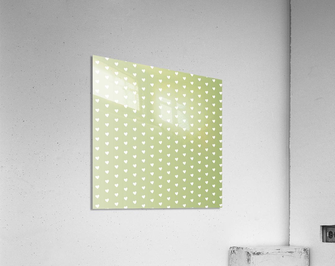 Kids Green Heart Shape Pattern  Acrylic Print