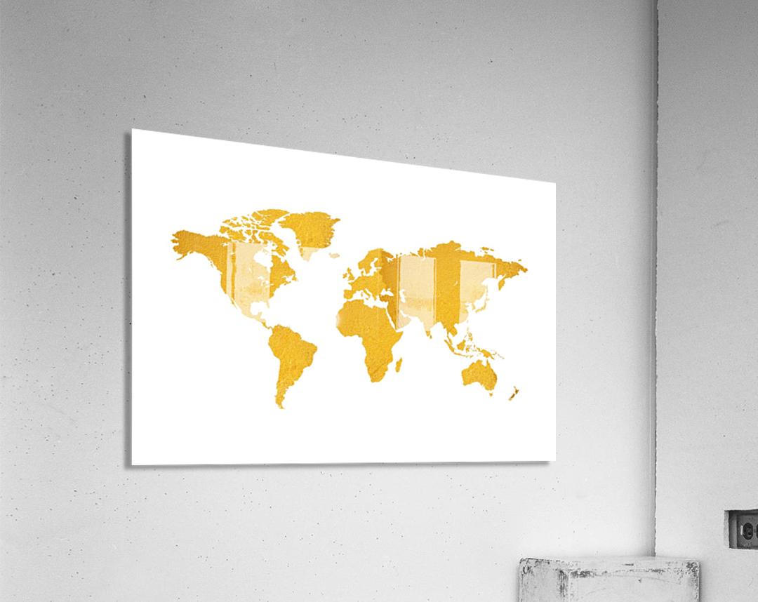 Golden World Map - White Background  Acrylic Print