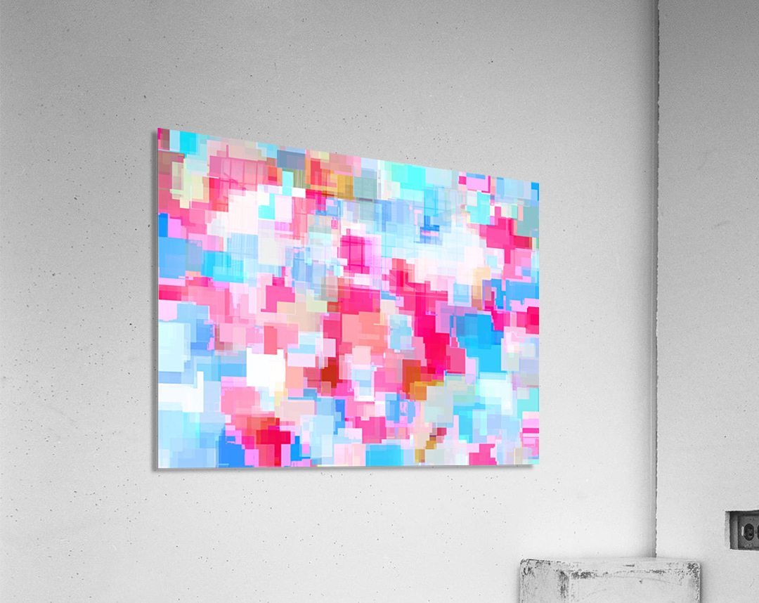 geometric square pattern abstract background in pink and blue  Acrylic Print