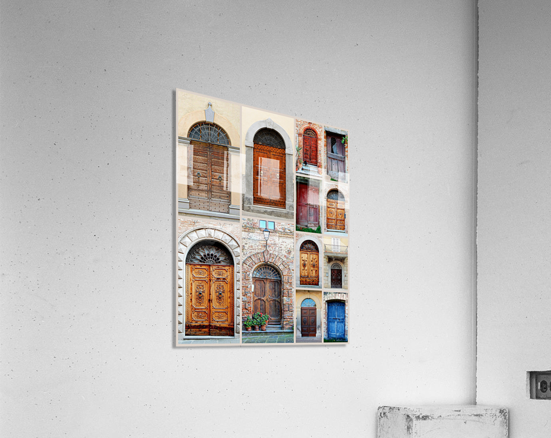 Italian Wooden Doors Collage  Acrylic Print