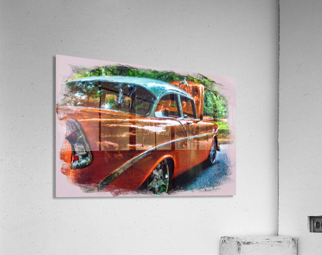 Classic Orange Car in Park Painting  Acrylic Print