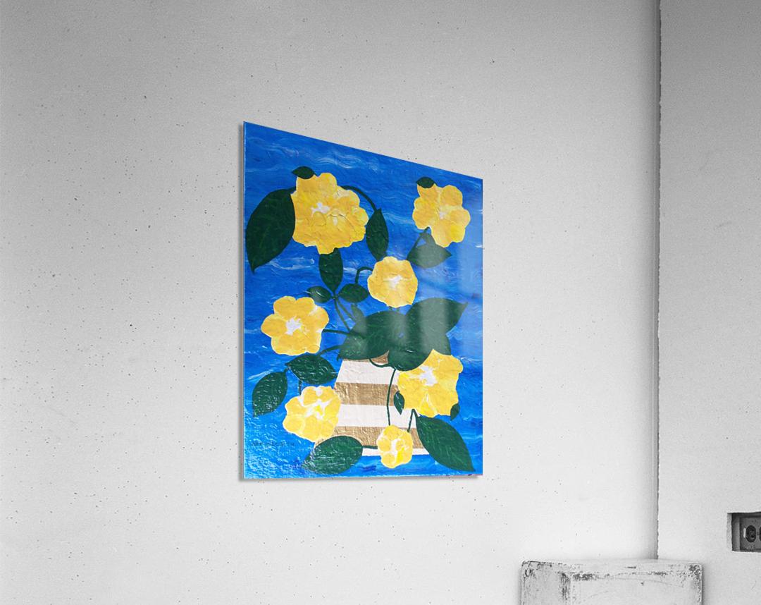 Yellow flowers in vase   Acrylic Print