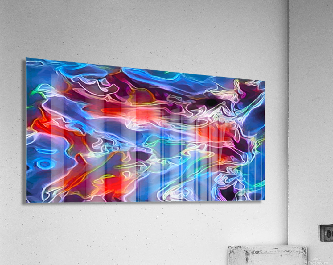 Blue Flames - multicolor abstract swirls  Acrylic Print